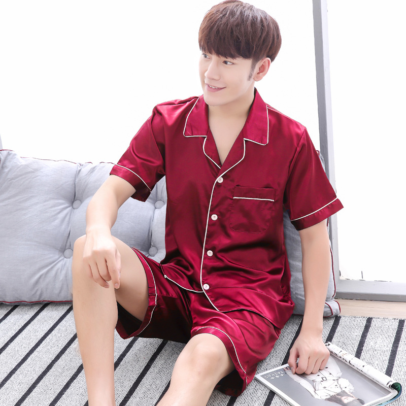 Mens Pajamas Nightwear-Set Sleep-Wear Home-Clothes Silk Summer New Short 2pcs Korean-Style