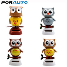 Car Ornament Cute Owl Birds Car Styling Solar Powered Swing Doll Auto Accessories Dancing Shaking Head Dashboard Decoration Gift