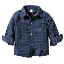 Новая стильная детская рубашка на осень и зиму клетчатая рубашка с длинными рукавами в Корейском стиле для мальчиков кардиган с отложным воротником для маленьких мальчиков