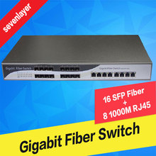 Оптоволоконный медиаконвертер 16 портов SFP волокно с 8 rj45 gigabit Оптического Волокна ethernet коммутатор для ip-камеры