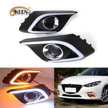 OKEEN 2pcs Car LED Daytime Running Light for Mazda 3 Mazda3 Axela 2013 2014 2015 2016 Daylight Fog lamp With Turn Signal Lights