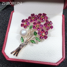 ZHBORUINI 2019 Natural Pearl Brooch Bouquet Flower Breastpin Freshwater Jewelry For Women Christmas Gift Accessories