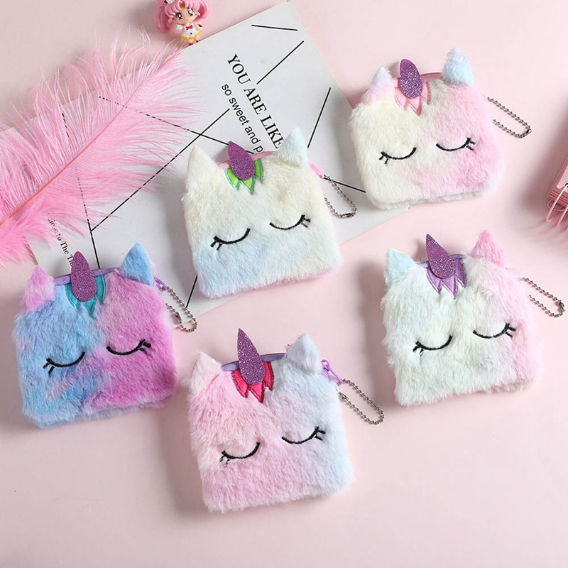 Plush Unicorn Coin Purse Mini Backpack Bag Keychain Pouch Wallets Zip