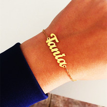 Custom Personalized Name Bracelet Stainless Steel Charms Handmade Cuban Chain Engraved Handwriting NK Bangle Women Birthday Gift