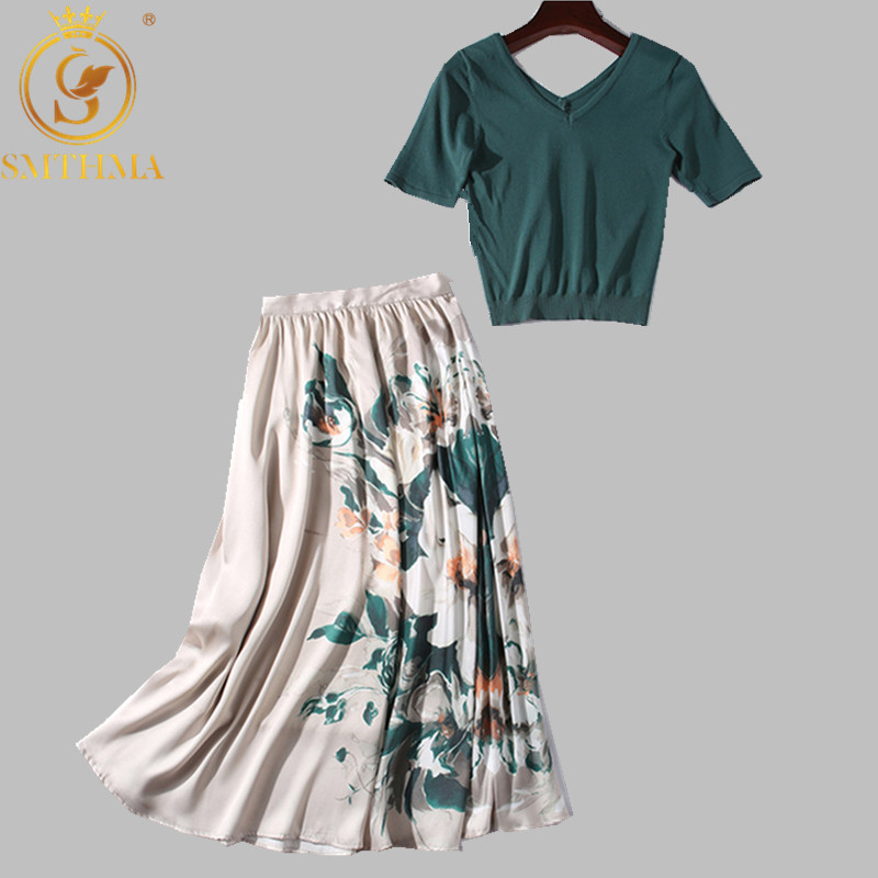 SMTHMA 2019 New Autumn Women Elegant Knit Sweater Top Green Slim Pullovers +High Waist Floral Skirts Suit Female Two Piece Set
