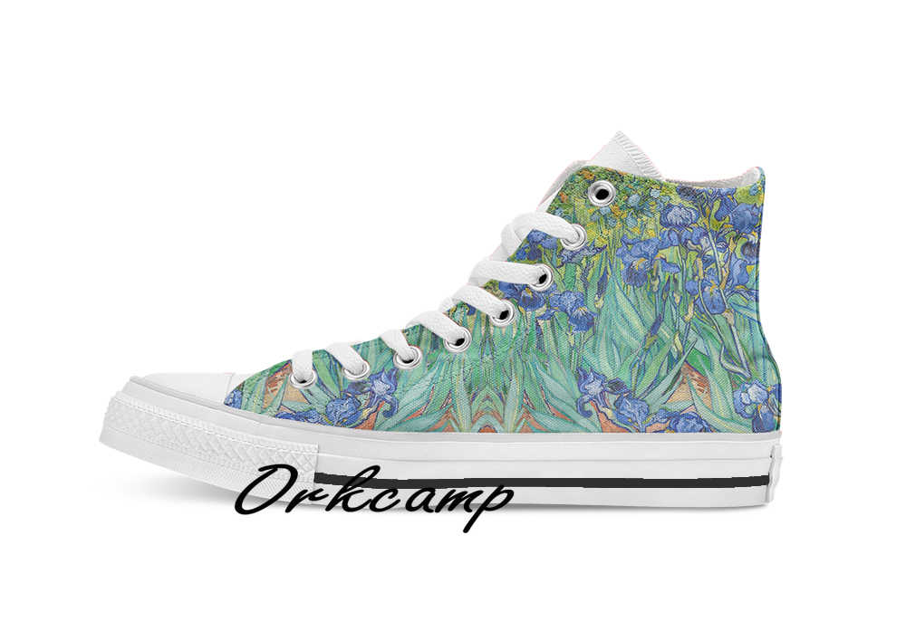 Van Gogh Irises  Custom Casual High Top lace-up Canvas shoes sneakers Drop shipping