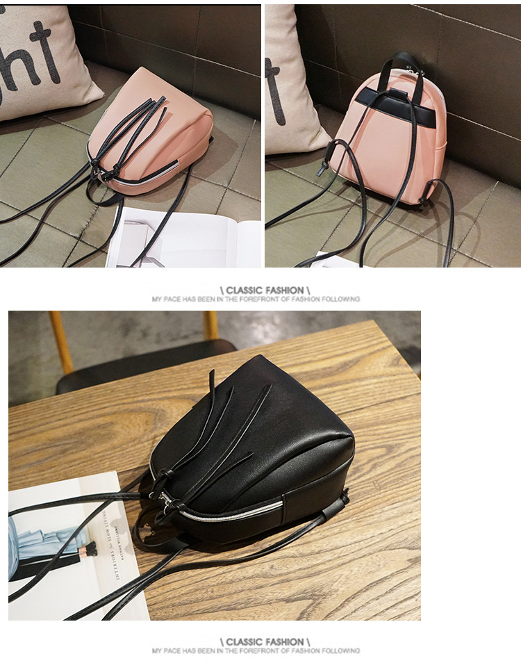 Casual Small Waterproof Backpack Women Solid Color Pu Leather School Bag Simple Mini Zipper Bookbags And Girls Travel Backpacks (16)