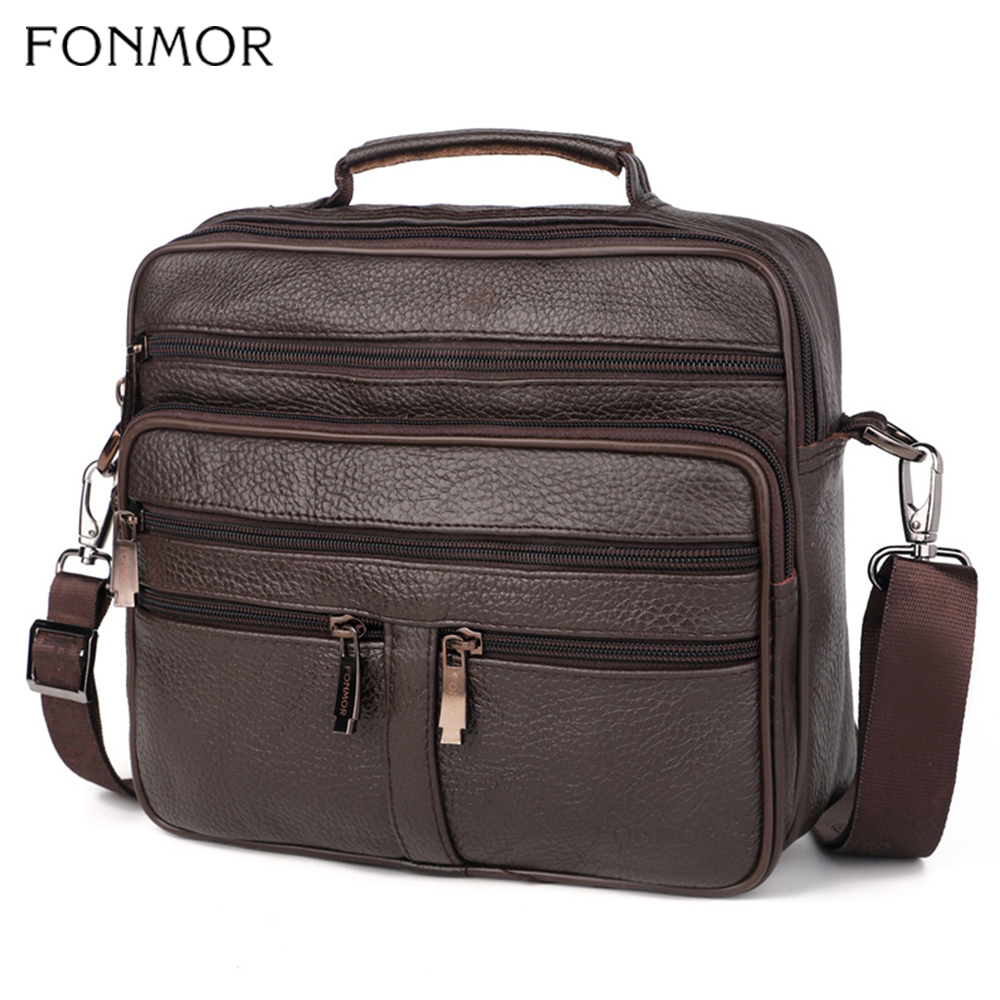 Fonmor Genuine Leather Briefcase Male Laptop Cowhide Bag For Men Messenger Shoulder Bags Business Crossbody Bag Multi Zip Pocket