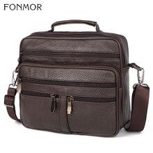 Fonmor maletín de cuero genuino para ordenador portátil, bolsa de piel de vaca para hombre, bolsas de mensajero bandolera de negocios, bolsillo con cremallera múltiple