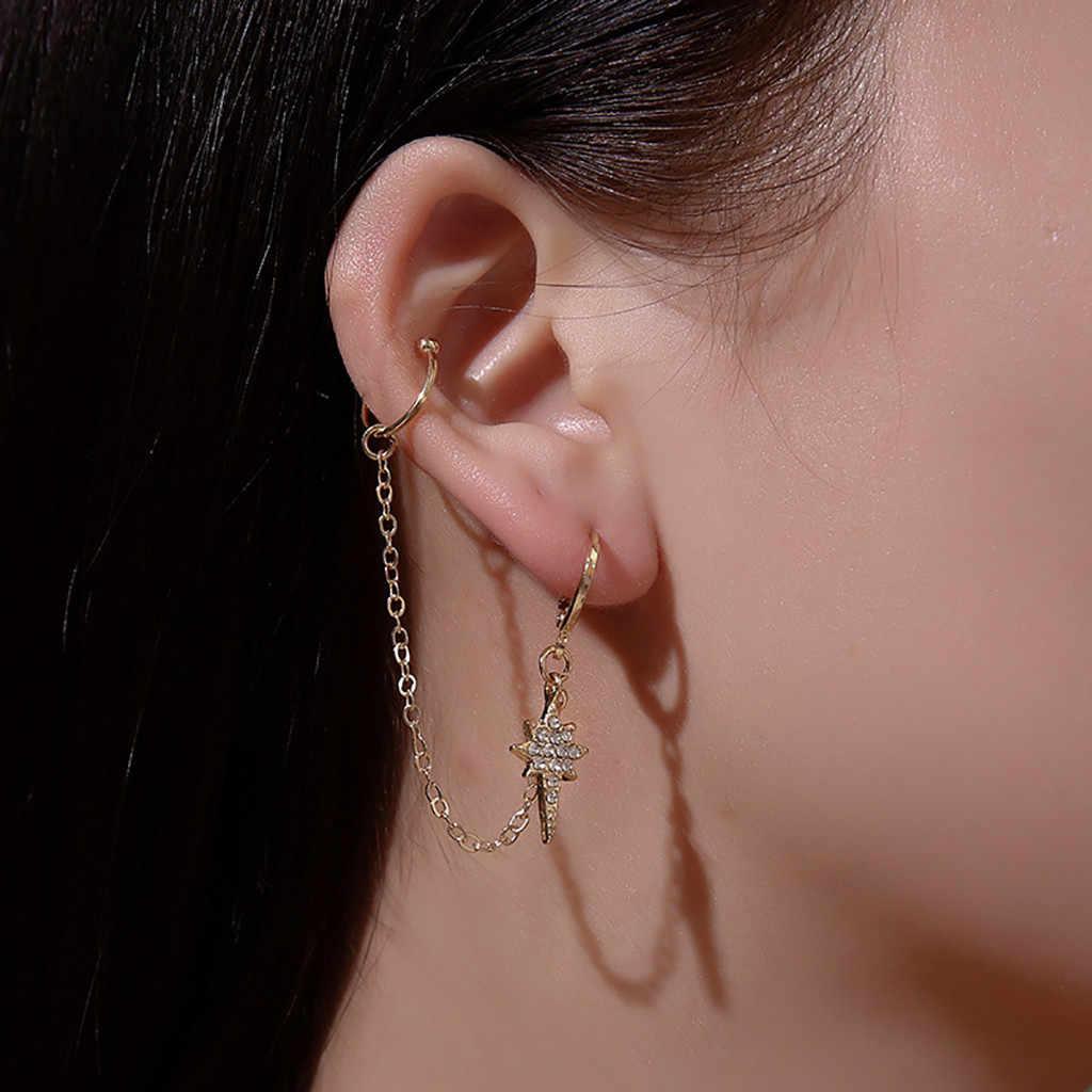 Desain Korea Rantai Panjang Anting-Anting Gadis Cahaya Bintang Rumbai Anting-Anting Drop Menjuntai Wanita Pernikahan Hadiah Perhiasan Trendi Bunga Liontin