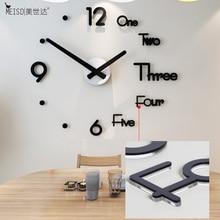 New 3D Living Room Kitchen Watch Clock Acrylic Fashion Creative DIY Wall Modern Design Home Decor Free Punch Shining