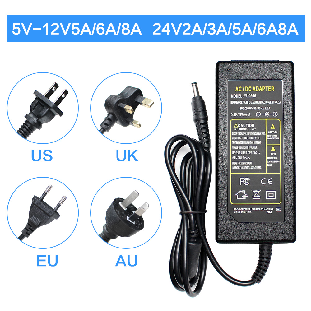 AC DC 5V <font><b>6V</b></font> 8V 9V 13V 15V 24V 12V Power Supply Adapter 1A 2A 3A 5A 6A 8A Transformers 220V To 12V 5V 24V Power Supply <font><b>Led</b></font> <font><b>Driver</b></font> image