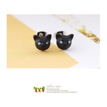 Korean New Jewelry Cute Animal Exquisite Realistic Black Cat Earrings Female 3 Colors