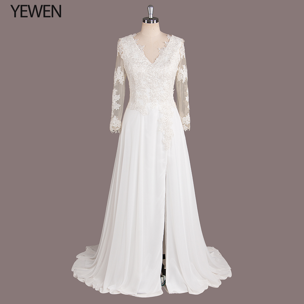 Свадебное платье с длинным рукавом 2019 сексуальное пляжное платье с v-образным вырезом и разрезом сбоку тюль для платья невесты с кружевной