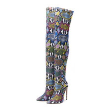 Womens Boots Snake-Skin Fabric Colorful 10-12cm Thigh Retro High-Stretch