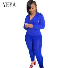 YEYA New Fashion Hooded Zipper Tights 2 Pieces Sets Sports Suit Autumn Long Sleeve Hollow Out High Waist Bodycon Playsuits Femme