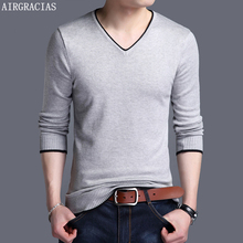 AIRGRACIAS Sweater Men Brand Clothing 2019 Autumn Winter New Slim Fit Warm Sweaters O-Neck Solid Color Pullovers For