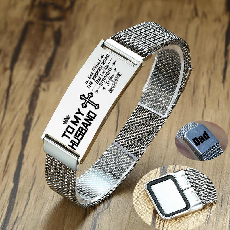 Silver Stainles Steel Custom Men's Mesh Bracelet Magnet Buckle Adjustable For Women Male Husbands DAD Gifts