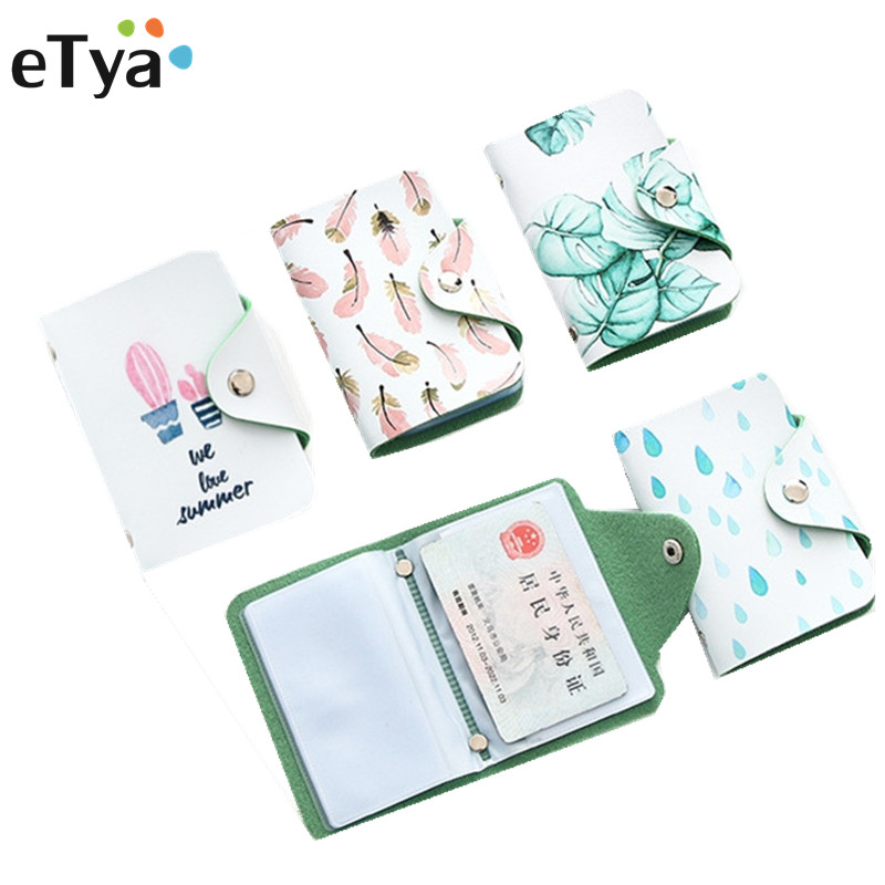 ETya Cartoon Cute Credit Card Holders Case Fashion Women ID Business Bus Card Passport Holder Card Bag Wallet Bag
