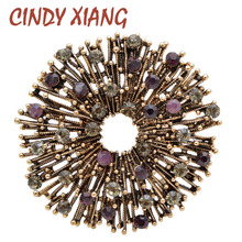 CINDY XIANG Rhinestone Hollow-out Flower Brooch Vintage Autumn Design Brooches For Women Coat Pin 4 Colors Avaibale New 2019