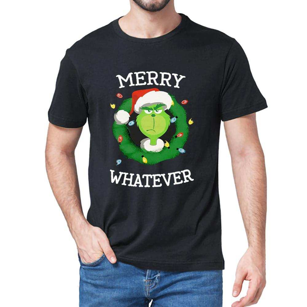 Tops Merry-Whatever T-Shirt fashion Gift The Grinch Short-Sleeve Funny 100%Cotton Tee