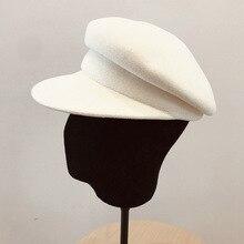 Шерстяная белая черная зимняя шапка теплая шерстяная шапка для женщин козырек берет газетчика шляпа шапка для девушек Дамская фетровая церковная шляпа