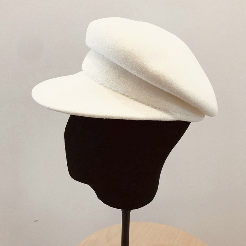 100% Wool White Black Winter Hat Warm Wool Hat For Women Visor Beret Newsboy Hat Cap Girl Ladies Felt Church Hats Cabbie Hat