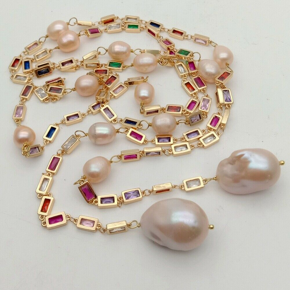 """50"""" Cultured Pink Keshi Pearl Mixed Color Rectangle Cz Pave Long Chain Necklace"""