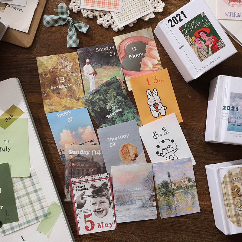 377pcs Vintage Poster Notepad Almanac Laptop Diary Writing Points Cycle Down Portable Note 2021 Cale