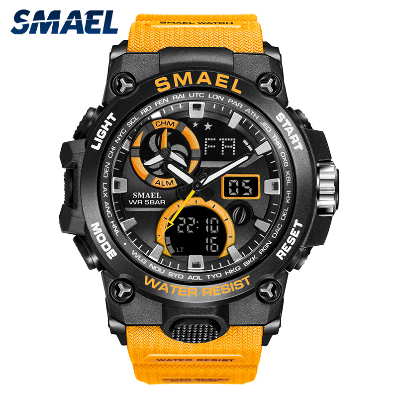SMAEL 2019 New Military Watches Mens Waterproof LED Dual Display Man Watch Chronograph Clock Relogio Masculino Wristwatch 8011