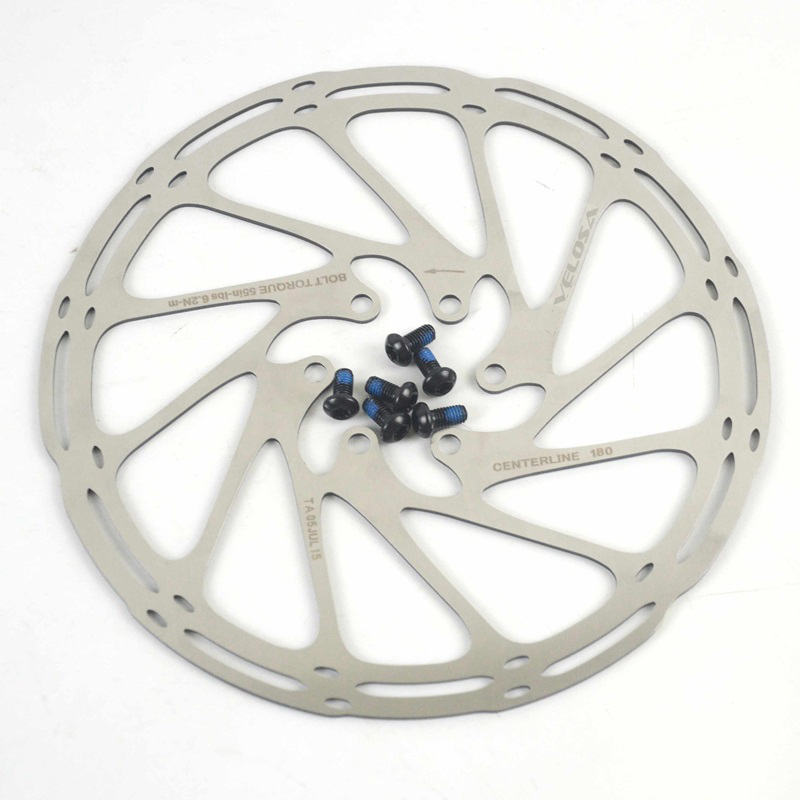 high quality MTB/road disc brake/cyclocross bike brake disc,44mm 6-bolt,centerline 160mm 180mm bike brake rotor,with screws
