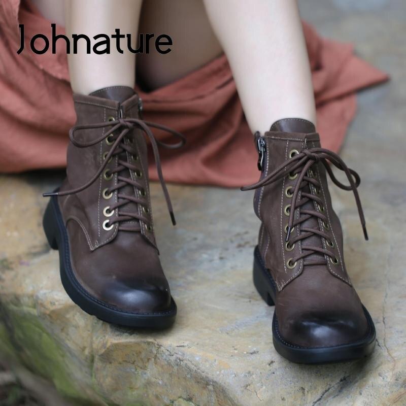 Johnature/Женская обувь; Ботильоны на платформе; Новинка 2020 года; Повседневные женские ботинки ручной работы из натуральной кожи на шнуровке, с круглым носком, на молнии|Полусапожки|   | АлиЭкспресс