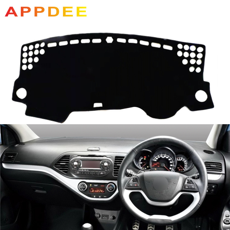 APPDEE Car Dashboard Cover Dash Mat Carpet Cape For Kia Picanto Morning 2012 2013 2014 2015 2016 2 Layers Auto Sunshade Cushion