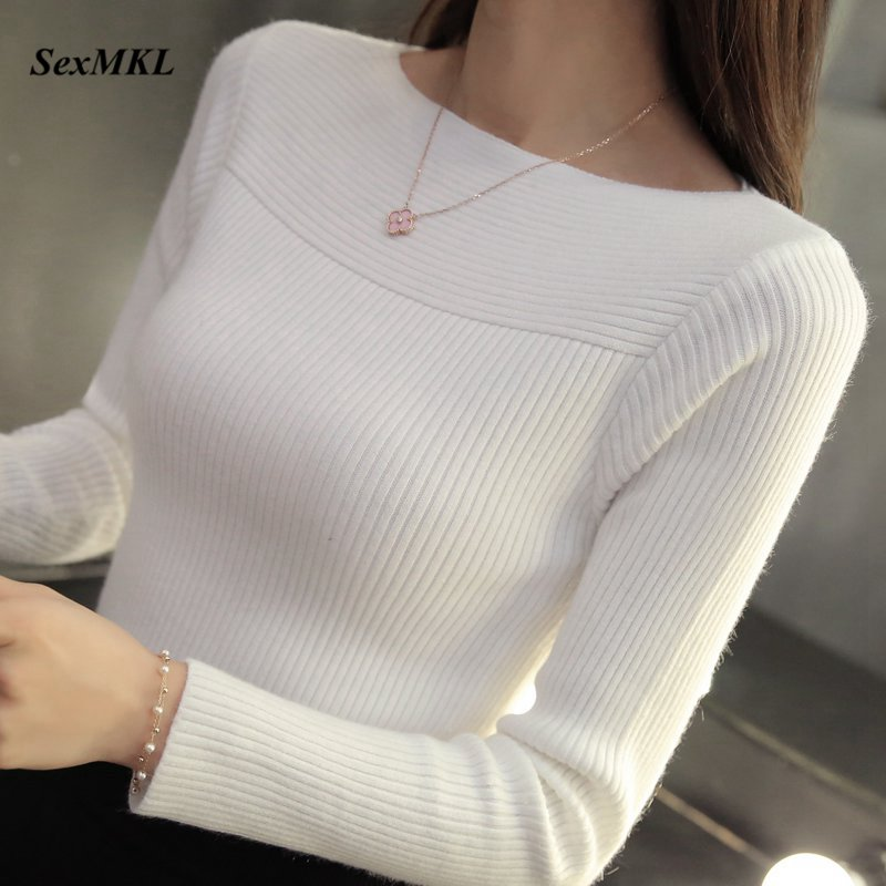 Autumn Winter Knitted Sweater Women 2020 Casual Long Sleeve Pullover Sweaters Korean Style Slim White Knitwear Pull Femme