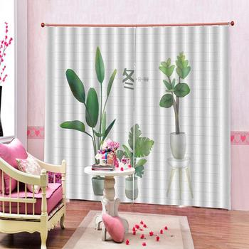 Beautiful Photo Fashion Customized 3D Curtains Faceplate green grass plant 3d Curtains Blackout for Living Room Bedroom Fabric