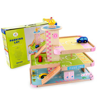 Play a three dimensional wooden parking toy sets Role Playing Baby Home Baby Furniture children FUN game