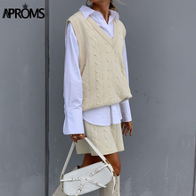 Pullovers Aproms 2piece-Set Suits Shorts Sweater Streetwear Knitted Elegant Winter Sleeveless