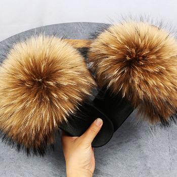 Nowe mody kapcie futrzane damskie futra lisa slajdy puszyste długie włosy buty futrzane sandały damskie kryty kobiety pluszowe klapki tanie i dobre opinie ZMPDXY Futro CN (pochodzenie) Mieszkanie z Mieszkanie (≤1cm) Zwięzłe Pasuje prawda na wymiar weź swój normalny rozmiar