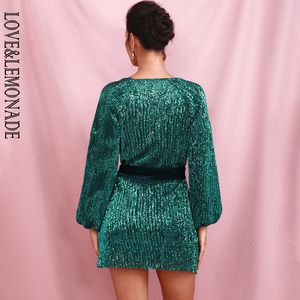 Image 5 - LOVE&LEMONADE Green Loose Lantern Sleeve Pleated Sequins Mini Dress (With Belt) LM82165
