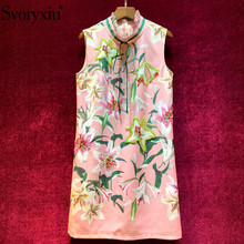 Svoryxiu Runway Custom Autumn Sleeveless Short Dress Womens luxury Beading lily Flower Printed Elegant Party Vestdios