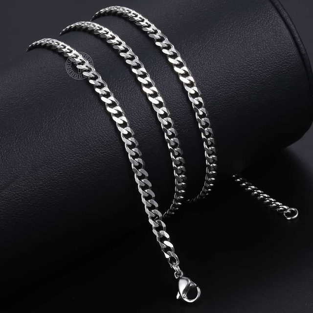 Size 3-9mm Men's Necklace Stainless Steel Cuban Link Chain Gold Black Silver Color Male Jewelry Gifts for Men KNM07 5