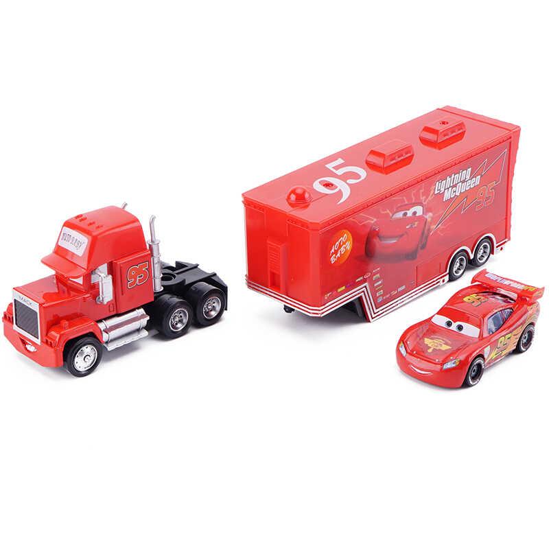 Disney Pixar Cars 2 3 ของเล่นชุดรถ Lightning McQueen รถบรรทุก MACK ลุง Rescue Collection 1:55 Diecast รุ่นของเล่นของขวัญเด็ก