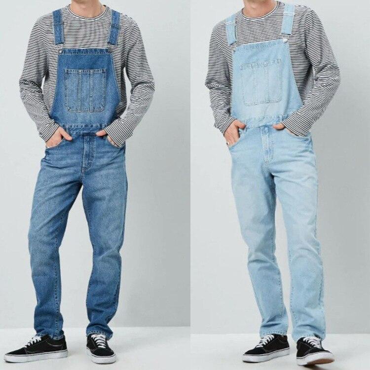 2019 Vintage Denim Overalls Men Hip Hop Jeans Jumpsuit Man High Quality Suspender  Loose Pants Streetwear