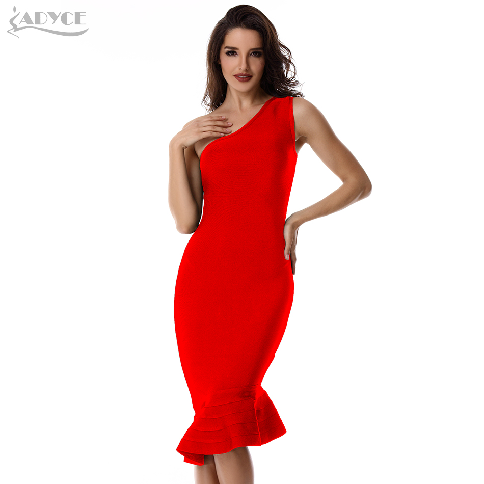 ADYCE Summer Women Sexy Bodycon Dress Vestidos Verano 2019 New One Shoulder Red Black Club Dress Evening Party Bandage Dresses