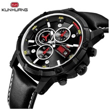 цена на Cool Army Men Boy Quartz Watch Black Red 6 Hands Date Stop Multifunction Genuine Leather Military Sport Wristwatch Clock Relogio
