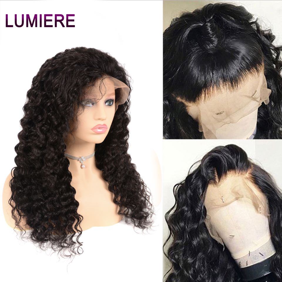Lumiere Hair Indian 13X4 Deep Wave Lace Front Human Hair Wigs Pre Plucked With Baby Hair Remy Human Hair Wigs Natural Black