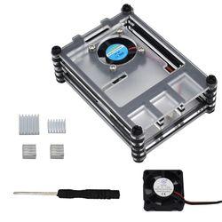 Przezroczysty akrylowy futerał ochronny z radiatorami chłodzącymi śrubokręt do Raspberry Pi 4B