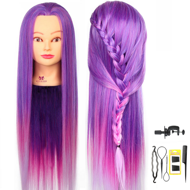 "30"" Purple Rainbow Colorful Long Hair Mannequin Head For Hairstyles Professional Hairdressing Doll Heads For Practice Braiding"
