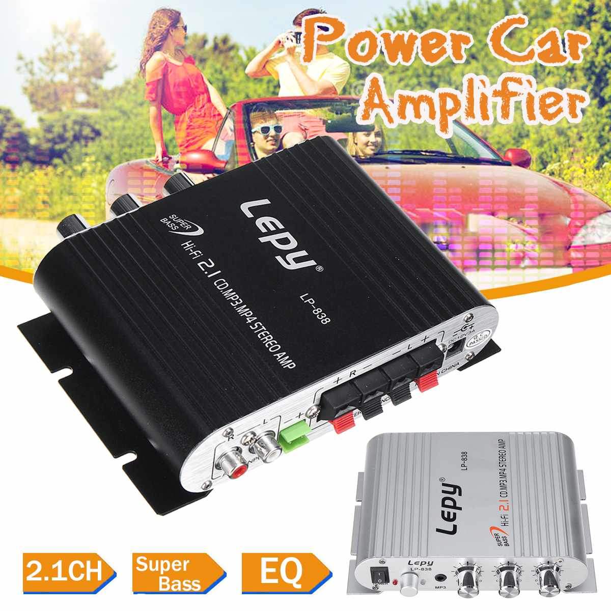 Lepy LP-838 12V Car Amplifier Hi-Fi 2.1 CH Channel MP3 MP4 DVD Phone Radio Audio Stereo Bass Speaker ooster Player