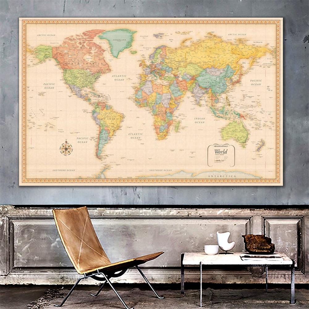 2x3ft The World Physical Map HD Classic Edition Wall Decor Map No-fading Fine Canvas Spray Painting For Home Decoration